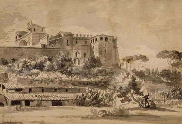 Вилла Бельведер в Ватикане, рисунок XVIII века
