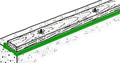 лежень на бетонном фундаменте должен быть гидроизолирован и пропитан антисептиком