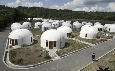 Деревня из круглых домов