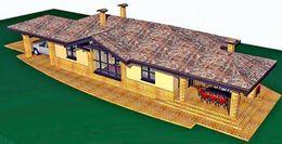 Одноэтажный узкий дом