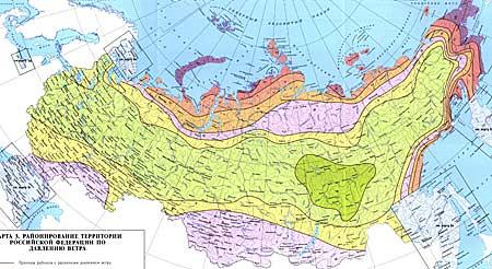Карта районирования РФ по давлению ветра