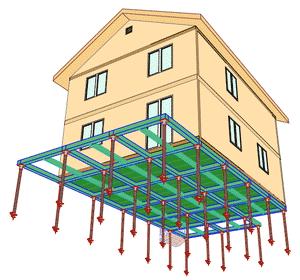 Строительство из СИП - фундамент на винтовых сваях и цокольная обвязка
