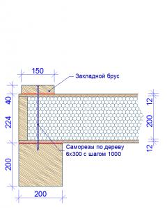 Стена СИП. Установка закладной доски на цокольном перекрытии